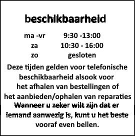 Beschikbaarheid telefonisch en reparaties